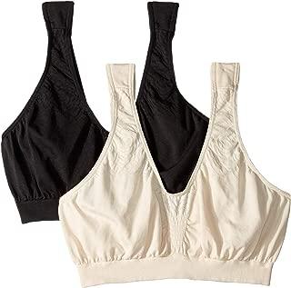 Women's Comfort Revolution Microfiber Crop Bra 2-Pair Beige/Black X-Large
