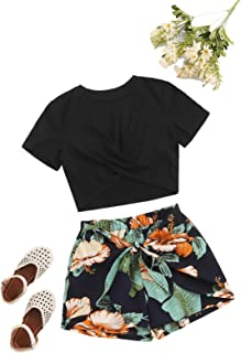 Girl's Summer 2 Piece Twist Front Crop Tops with Floral...