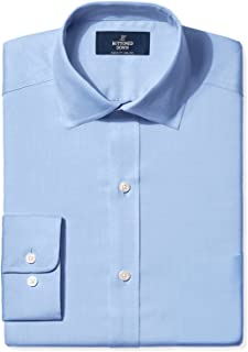 Amazon Brand - BUTTONED DOWN Men's Classic Fit Spread-Collar Solid Pinpoint Dress Shirt, Supima Cotton Non-Iron