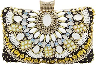 LVfenghe Rhinestone Sequins Handmade Beaded Evening Bag Ladies Wedding Banquet Celebration Dress Clutch Bag Pillow Square Chain Twill Shoulder Bag Size: 20 * 7 * 13cm (Color : Gold)