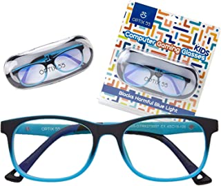 Kid's Blue Light Blocking Glasses – Flexible Blue Square Frames, Computer and Gaming Eyeglasses for Boys - Bendable and Unbreakable - by Optix 55