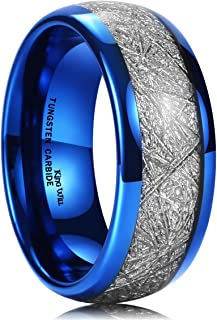Meteor Mens 8mm Blue Tungsten Carbide Sliver/Gold Meteorite Inlay Domed High Polished Ring