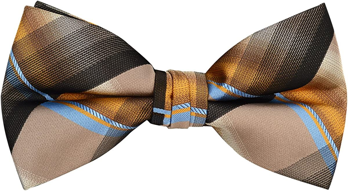 Men's Poly Woven Plaid Banded Bow Tie
