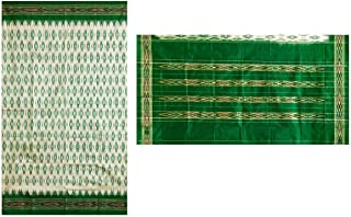 DollsofIndia Ikkat Design on Ivory Silk Saree with Green Border and Pallu (NW55)