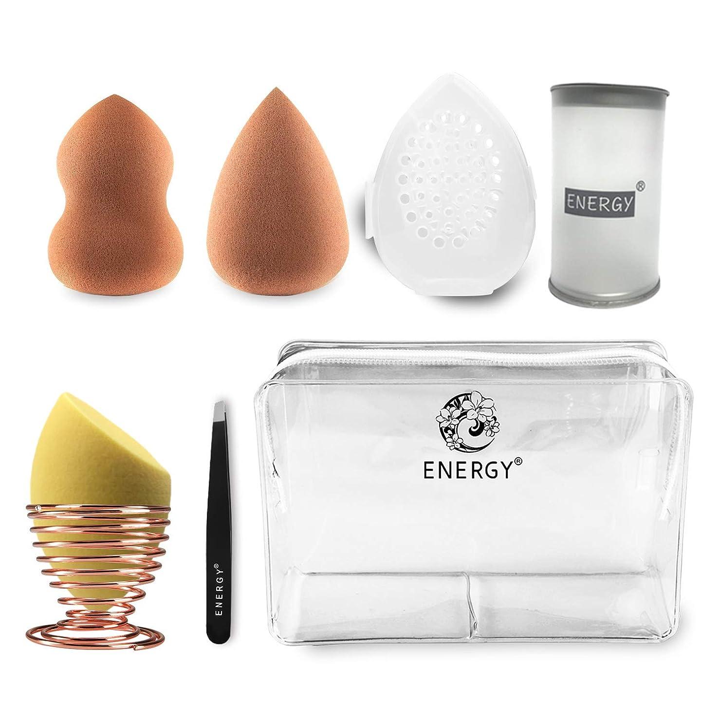 壮大明日格差ENERGY 多機能メイク用スポンジパフ (ゴールデン/褐色) スポンジメイク 化粧パフ パウダーパフセット PVC収納袋を送る