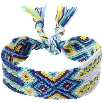FENICAL Pulsera trenzada hecha a mano Pulseras tejidas /étnicas de la amistad de la cuerda de Boho Nepal