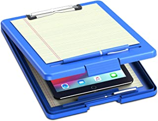 Clipboard with Storage Blue Plastic Storage Clipboard Form Holder Binder with High Capacity Clip Posse Box-13x9x1 inches P...