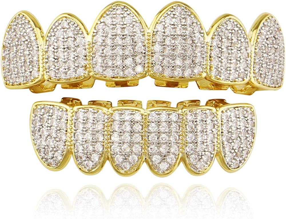 Diamond Grills 18K Gold Plated Fully Iced Out CZ Vampire Top and Bottom Face Mouth Grillz for Your Teeth Men Women