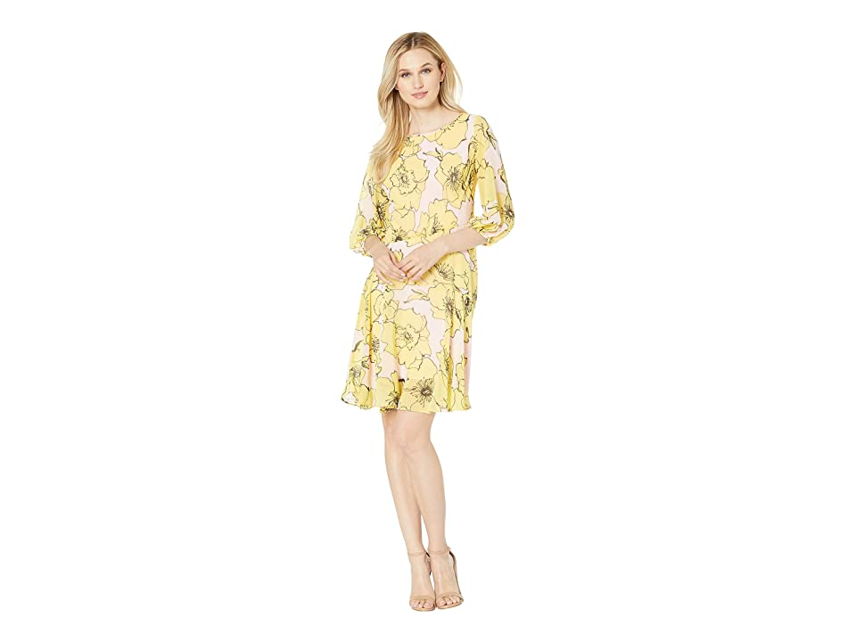Taylor Balloon Sleeve Flower Print Dress (Daffodil) Women