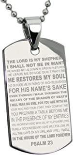 Tioneer Stainless Steel Psalm 23 Bible Verse Dog Tag