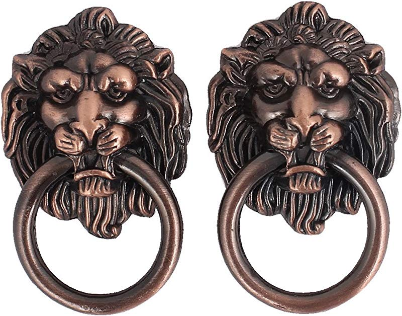 Uxcell Cupboard Cabinet Drawer Vintage Lion Head Ring Pull Knob Handle 2 Pcs
