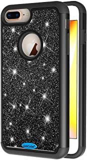 JanCalm Glitter Case for iPhone 6 Plus/6S Plus/7 Plus/8 Plus,Fashion Sparkle Shiny Bling Dual Layer Hybrid Shockproof Protective Phone Cute Cover for Girls Women + Crystal Pen (Black)