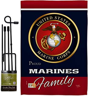 Breeze Decor GS108411-BO Marines Proudly Family Americana Military Impressions Decorative Vertical 13