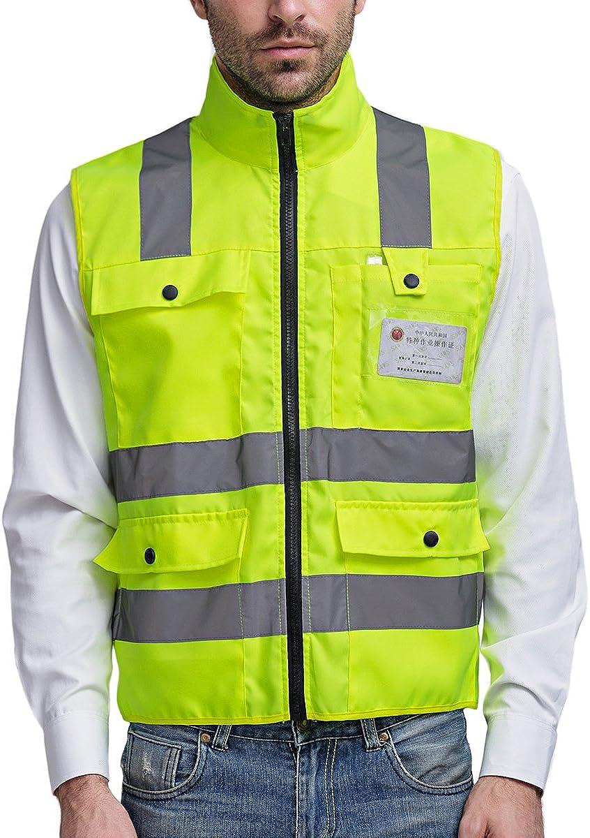 Sfvest Warnweste Atmungsaktiv Stehkragen Sicherheitsweste Reflektierende Weste Mit 4 Taschen Bekleidung