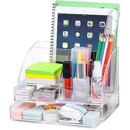 POPRUN Acrylique Organiseur de bureau avec pot a crayon,Papeterie Organizer avec Pot à Stylo et tiroir,pour l'école, le bureau et la salle de classe (transparent)