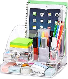 POPRUN Acrylique Organiseur de bureau avec pot a crayon,Papeterie Organizer avec Pot à Stylo et tiroir,pour l'école, le bu...