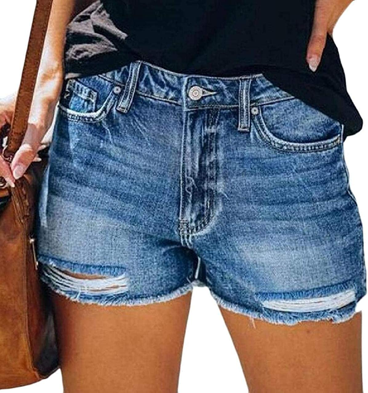 Womens Ripped Shorts Cut Off Washed Summer Straight Leg Denim Shorts Jeans