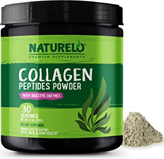 NATURELO Collagen Peptides Powder - Best Supplement for Skin, Hair, Joint Health - Organic Spirulina - 14 Amino Acids - Gr...