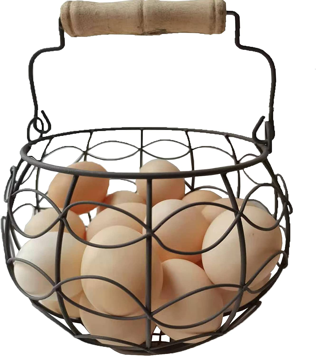 Round Chicken Wire Egg OFFicial store Baskets Rusty LINCOUNTRY Max 90% OFF Color Bask Metal