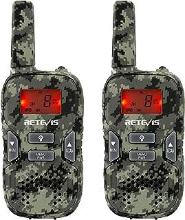 Retevis RT33 Walkie Talkie Niños PMR446 8 Canales LED Linterna Incorporada LCD Pantalla VOX 10 Tonos de Llamada Walkie-Talkie Juguete Regalo para Niños(Camuflaje, 1 par)
