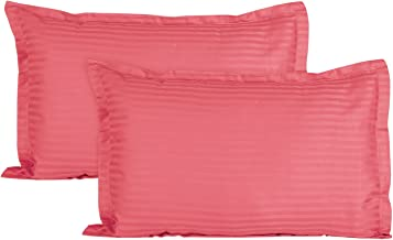 Ahmedabad Cotton Luxurious Sateen Striped Pillow Cover/Case Set (2 Pcs) 300 Thread Count - Peach