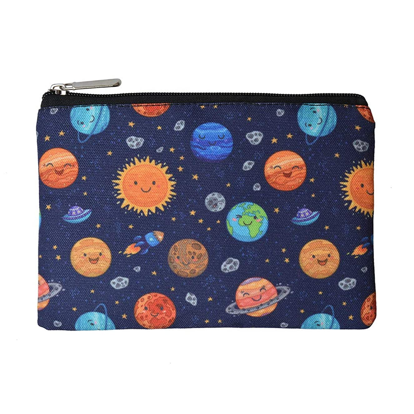 Rantanto Canvas Pencil Holder Case Pen Stationary Pouch Cosmetic Makeup Bag (CPH010 Space Planets)
