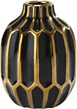 Benjara BM188021 Embossed Ceramic Round Vase with Small Mouth Open, Black and Gold