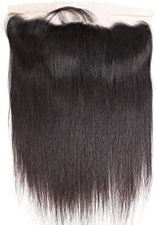 Persephone 13x4 Ear To Ear Full Lace Frontal Closure Free Part Brazilian Virgin Straight Human Hair Extensions Top Lace Front Closures With Baby Hair Bleached Knots Natural Color 10 inches