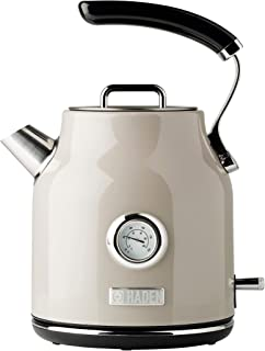 Haden DORSET 1.7 Litre Stainless Steel Retro Electric Kettle with Auto Shut-Off and Boil-Dry Protection in Putty Beige
