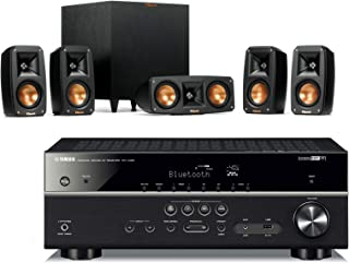 Klipsch Reference Theater Pack 5.1 Surround Sound System Bundle with Yamaha RX-V485BL 5.1-Channel 4K Ultra HD Network A/V Receiver with MusicCast - Black