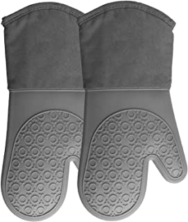 HOMWE Extra Long Professional Silicone Oven Mitt, Oven Mitts with Quilted Liner, Heat..