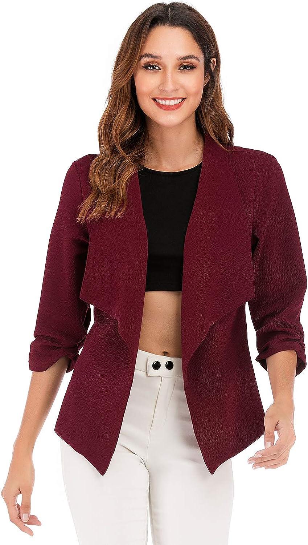 WERIDEDIRT Women's Stretch 3 4 Sleeve Casual Work Office Open Front Blazer Jacket