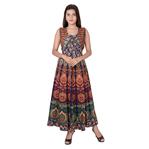 da1deefee9fee Jaipuri Fashionista Cotton Women's Maxi Long Dress Jaipuri Printed with  Atteched Jacket (Free Size Upto