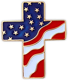 American Flag Patriotic Cross Religious Jewelry Enamel Lapel Pin