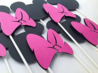 6 - Minnie Mouse Ears and Bows Centerpieces or Cake Toppers - Minnie Mouse Inspired Happy Birthday Collection - Black and White Polka Dots & Hot Pink, Black and White Accents - Party Packs Available