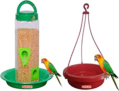 SAKAR Hanging Bird Feeder with Bottle and Plate and Hanging Water Pot Easy to Hang in Balcony Ideal for Home and Garden Use