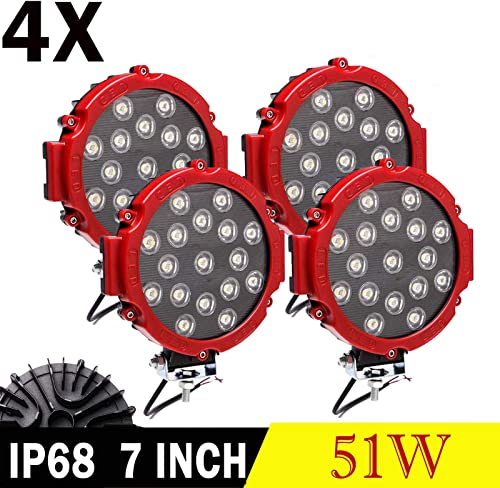 discount 7 Inch 51W LED Work Lights Red Round Spot Light Pods Off Road Driving Lights Fog Bumper Roof Lamp for Offroad online Jeep SUV Truck Hunters, discount Pack of 2 online