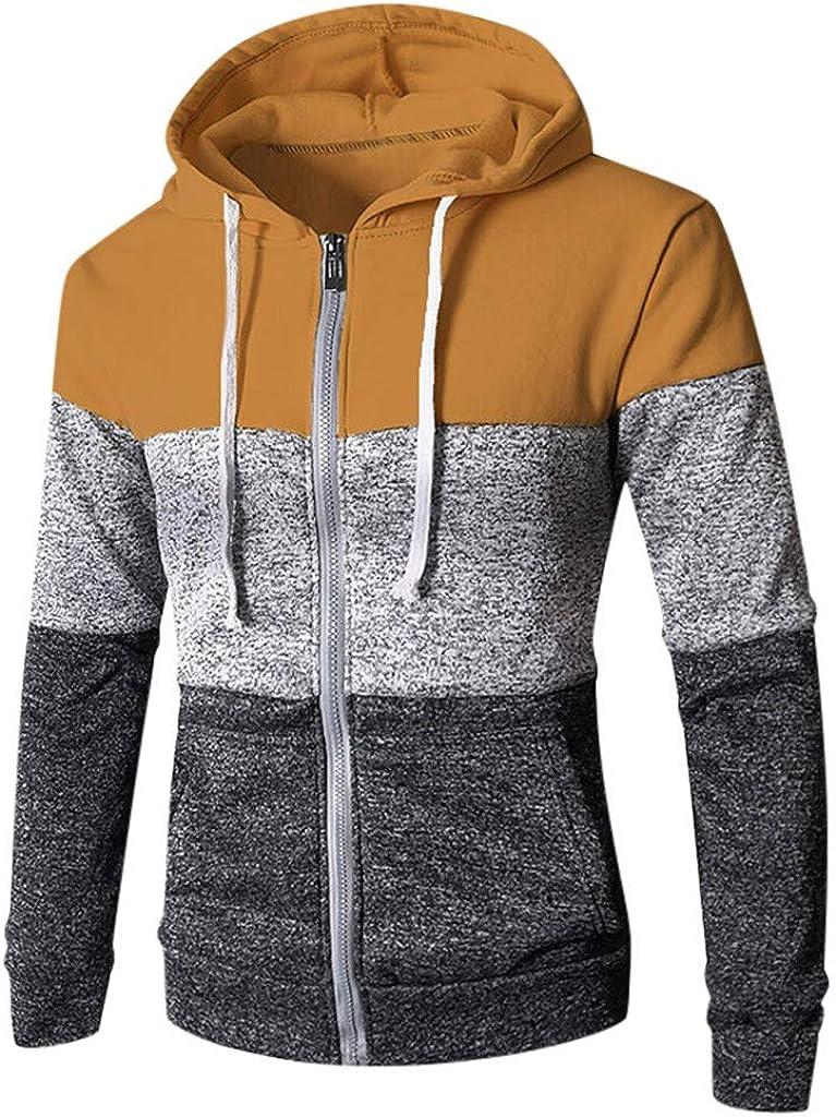 Men's Casual Hoodies Winter Autumn Color Block Slim Fit Zipper Up Sports Pullover Soft Hooded Sweatshirt Outwear Sweater