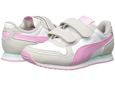 Puma Kids Cabana Racer SL Velcro (Little Kid) (Puma White/Gray Violet/Pale Pink) Girls Shoes