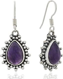 925 Sterling Silver Purple Amethyst Gemstone Pear Shaped Vintage Dangle Hook Earrings 1.4
