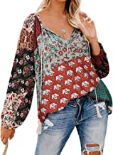 Long Sleeve for Women Tops,Ladies Casual V Neck Floral Print T-Shirt Loose Drawstring Tunic Blouses Tops Gogoodgo