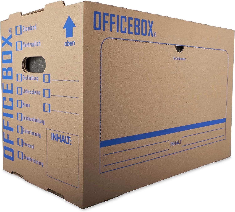 Stapelbare Archivkartons mit Ankreuz- /& Beschriftungsfeldern in Braun KK Verpackungen/® Ordnerkarton Officebox 10 St/ück Stabile Archivbox mit Sichtfenster f/ür bis zu 6 Ordner