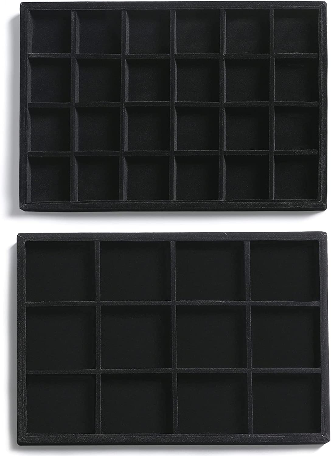 Frebeauty Stackable Velvet Jewelry Organizer Trays for Drawers Inserts Jewelry Storage Tray Display Case, Stud Earrings Bracelets Necklace Rings Accessories Trays for Women Girls(Set of 2)(Black). : Clothing, Shoes & Jewelry