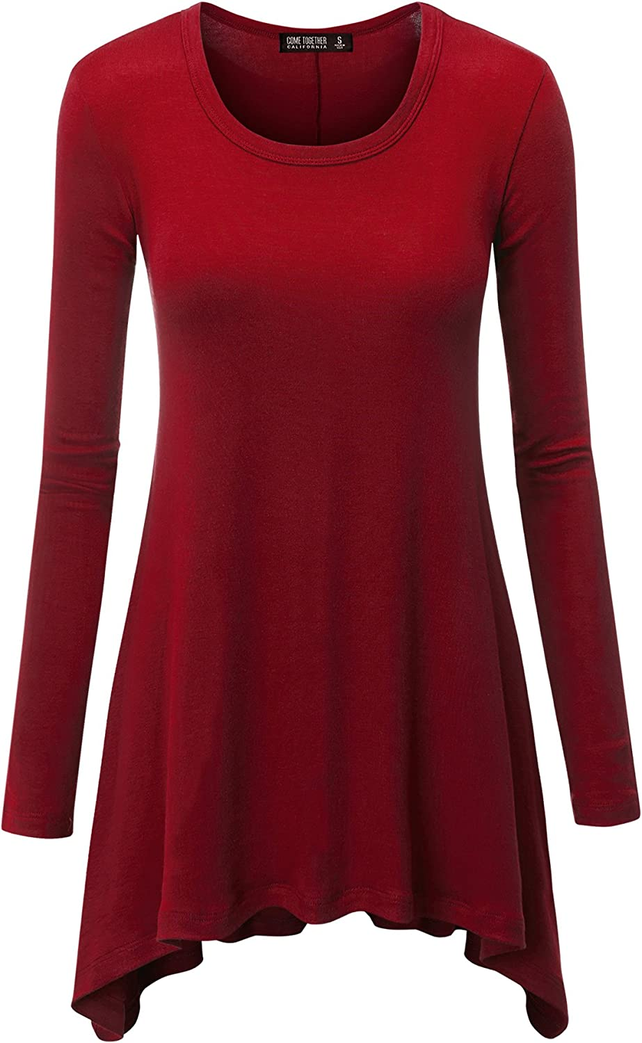 CTC Womens Round Neck Long Sleeve Rib Trapeze Tunic Top - Made in USA
