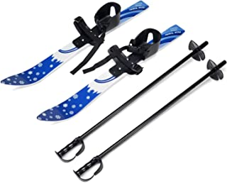 Odoland Kid's Beginner Snow Skis and Poles, Low-Resistant Ski Boards for Age 4 and Under, Snowflake