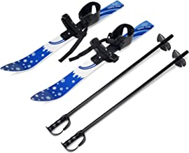 Odoland Kid's Beginner Snow Skis and Poles, Toddler Skis Low-Resistant Ski Boards Bindings for Age 4 and Under, Snowflake