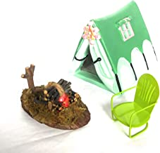 TFC Fairy Glamping Camping Tent with Floral Accent, with Light-up Fire Pit, Vintage Style Lawn Chair for Miniature Fairy Gardens Token, Terrariums,