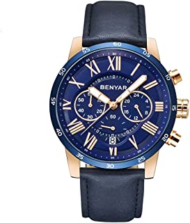BENYAR Waterproof Chronograph Watches Business Casual Roman Numerals Leather Band Wrist Watch for Men
