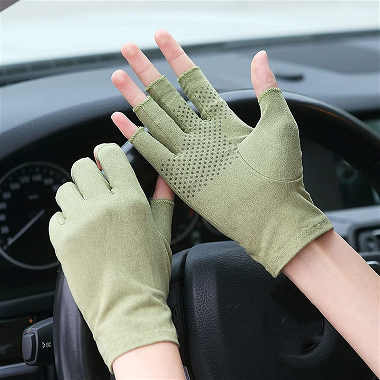 UimimiU Men and Women Spring and Summer Suede Non-Slip Gloves Cycling Driving Half-Finger Gloves Unisex Touch Screen Gloves Driving Sunscreen Anti-Skid Mittens (Color : Green, Size : 21cm)