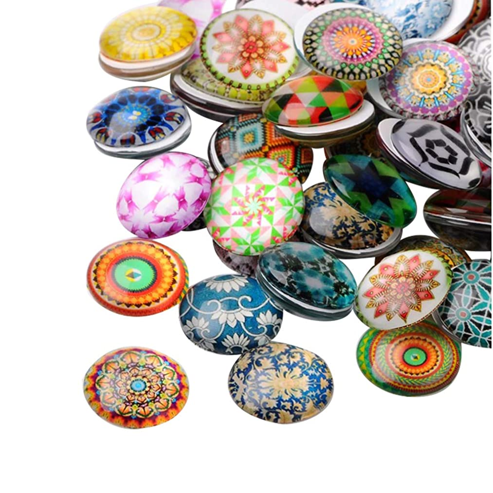 ARRICRAFT 200pcs Mosaic Printed Glass Cabochons 18mm Half Round Dome Cabochon Beads for Crafting DIY Jewelry Making